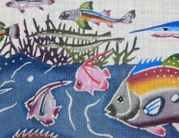 玉那覇有公作琉球紅型夏九寸帯お太鼓柄 海中散歩の写真