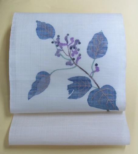 帯屋捨松製夏すくい織九寸帯 しく文の写真