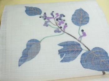 帯屋捨松製夏すくい織九寸帯 しく文の写真中アップ